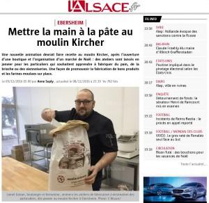 Article de L'Alsace sur le Moulin Kircher et les ateliers de fabrication de pain